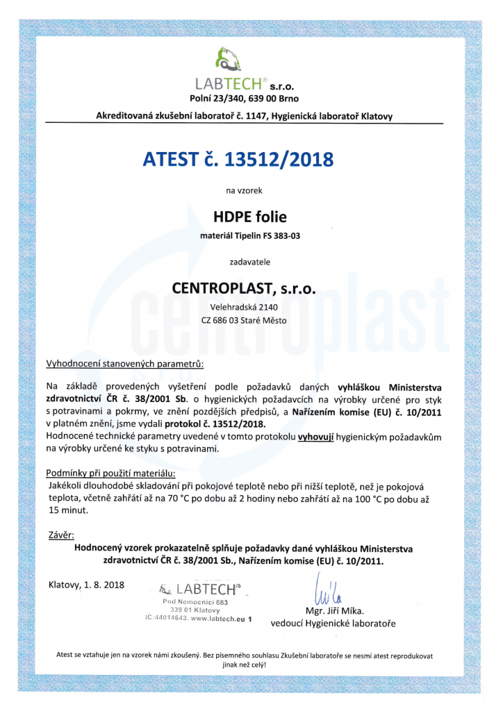 Certifikát | CENTROPLAST | Staré Město